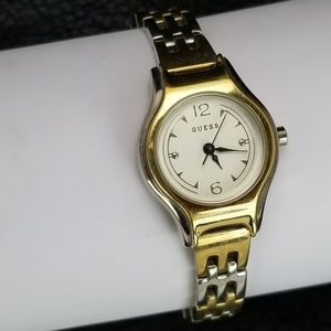 GUESS Two Tone Quartz Gold Silver Band White Face